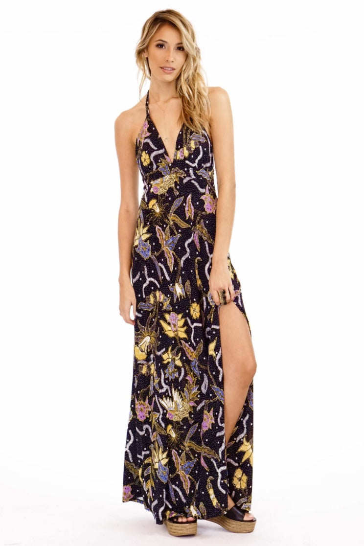LAST CALL SIZE XS | Lily Printed Halter Maxi Dress in Navy Multi