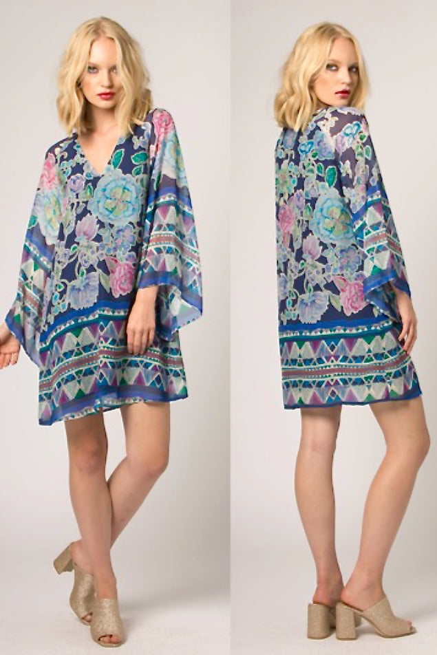 Mixed Print Silk Dress