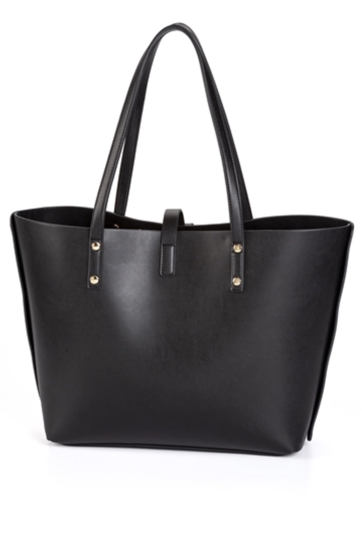 Large Black Tote with Bow & Studs Back