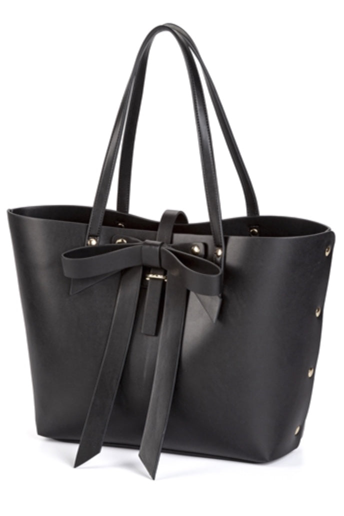 Large Black Tote with Bow & Studs Front