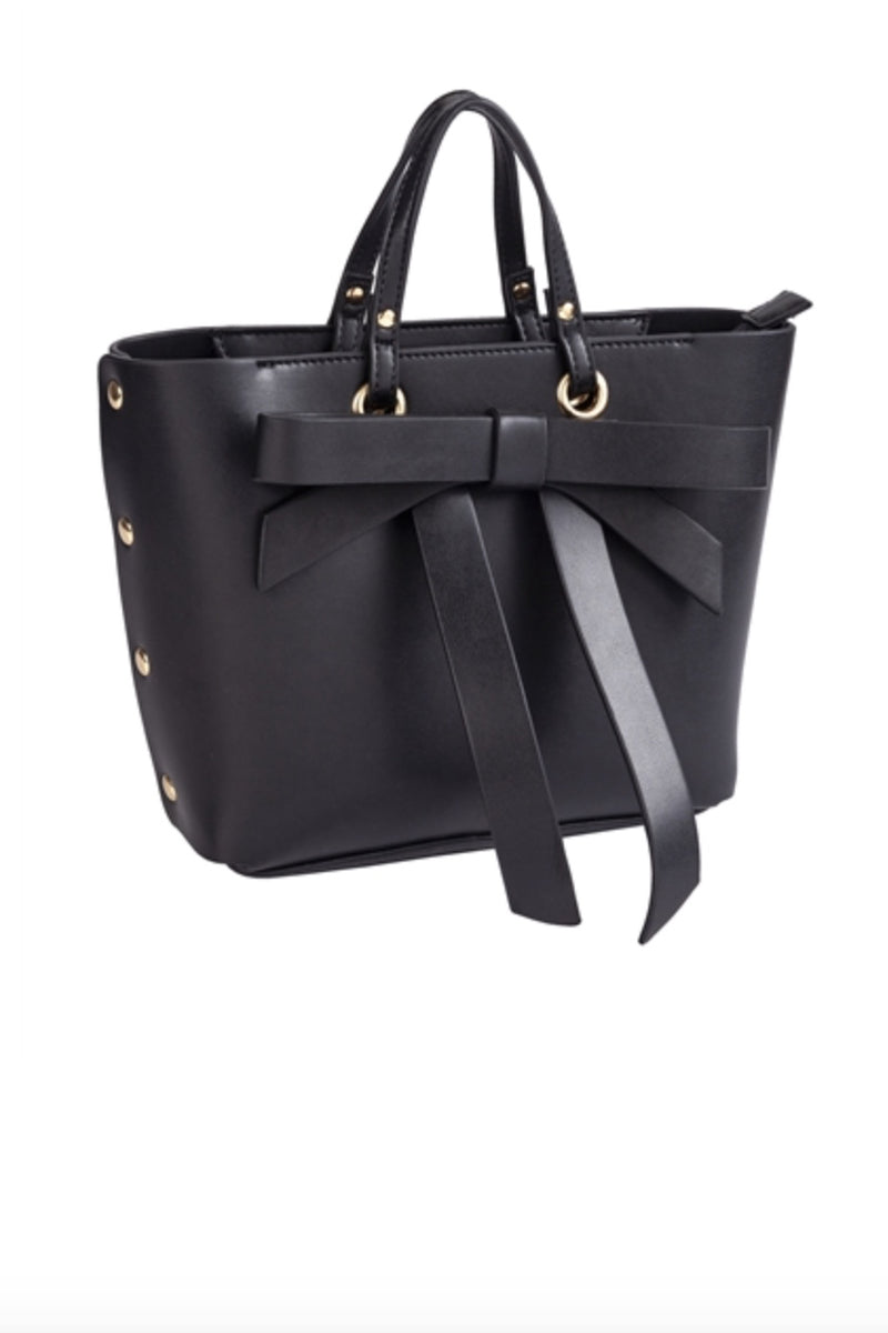 Black Satchel Bag with Bow & Grommets Front