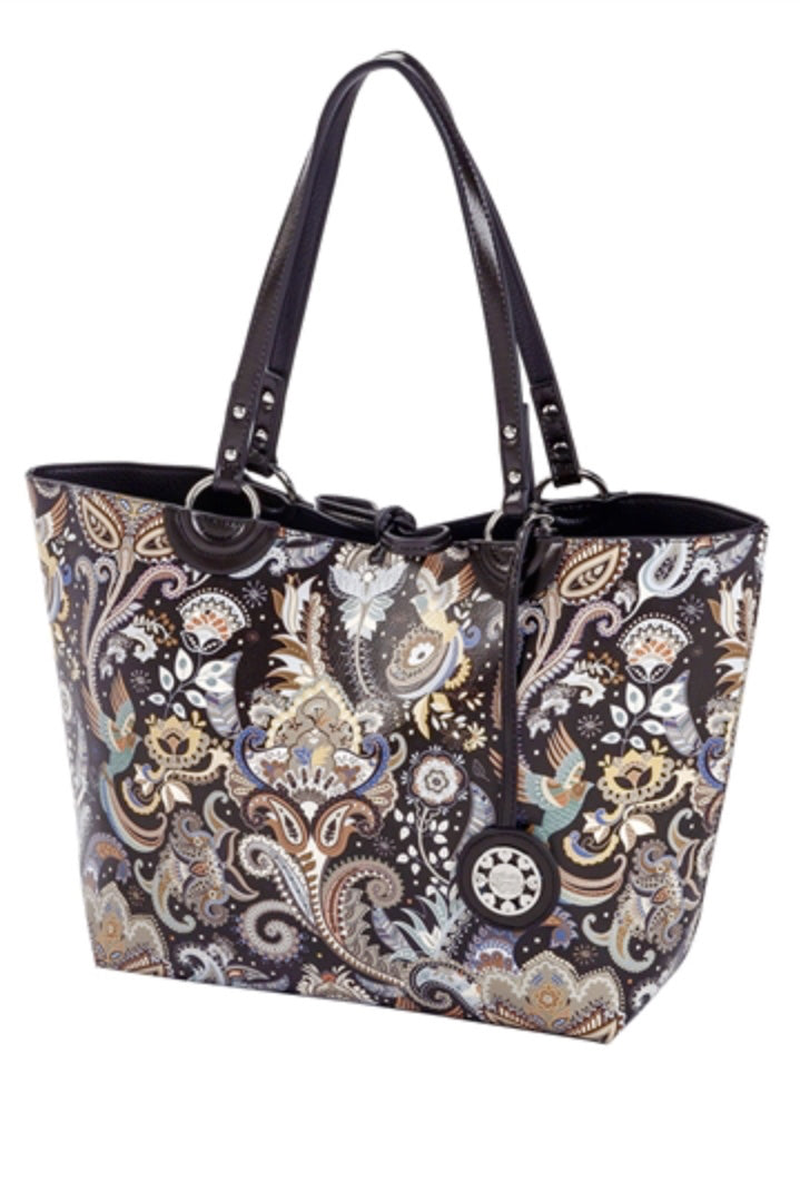 Black and Paisley Reversible Medium Sized Tote Front