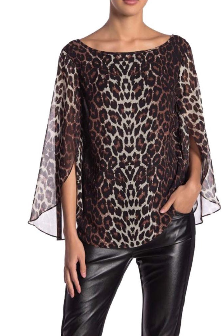 Leopard Print Split Sleeve Blouse