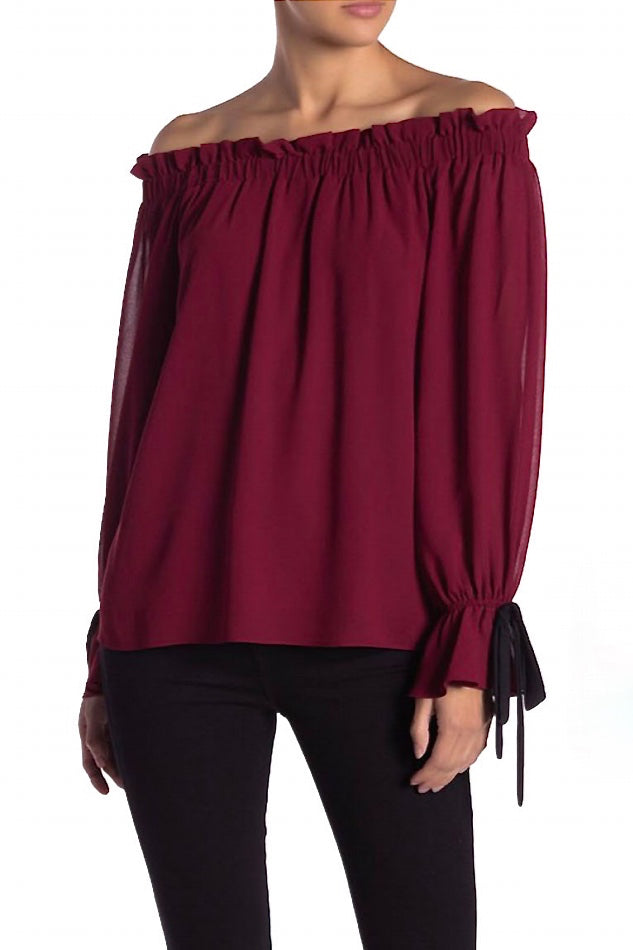 Off The Shoulder Gathered Sleeve Blouse
