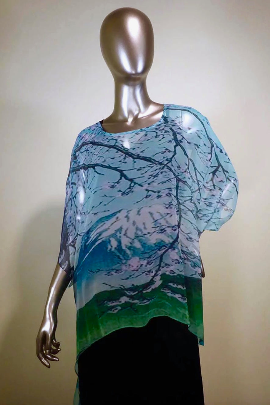 LAST CALL SIZE S/M | Silk Topper Poncho with Mountain Side Print