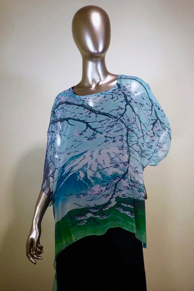 Silk Topper Poncho with Mountain Side Print