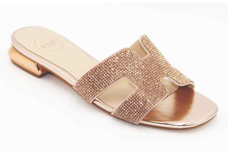 Sparkle Top Rose Gold Flat Sandal