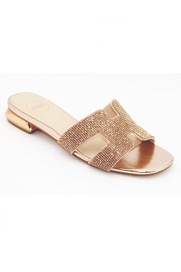 LAST CALL SIZE 8 | Sparkle Top Rose Gold Flat Sandal