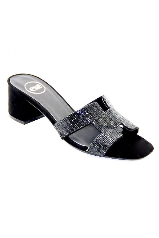 Sparkle Top Black Leather Sandal