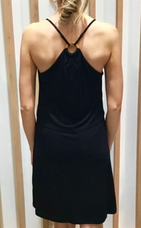 Tank Dress with O-Ring Back Detail in Black Back
