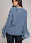 Long Sleeve Mock Neck Blouse Back