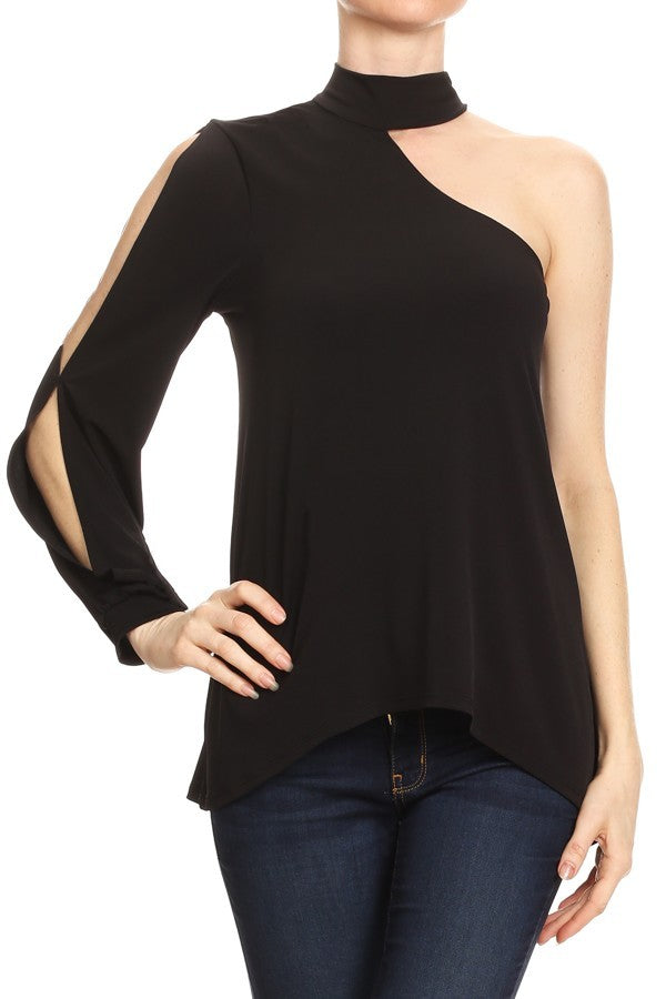 One Sleeve Choker Top in Black