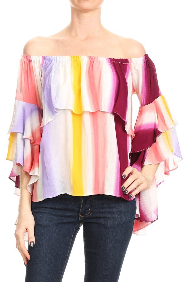 LAST SIZE L | Off Shoulder Cascade Ruffle Sleeve Top in Magenta Multi