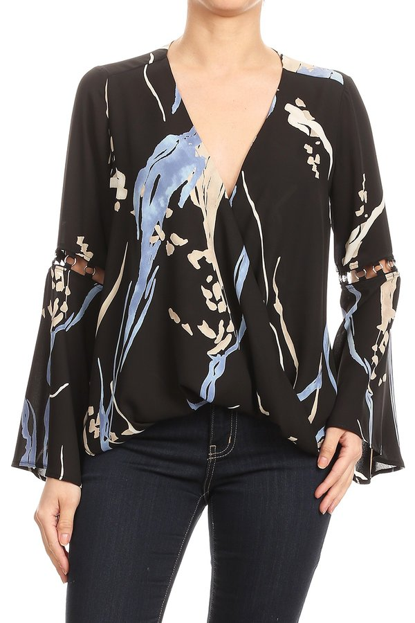 Paint Stroke Bell Sleeve Blouse