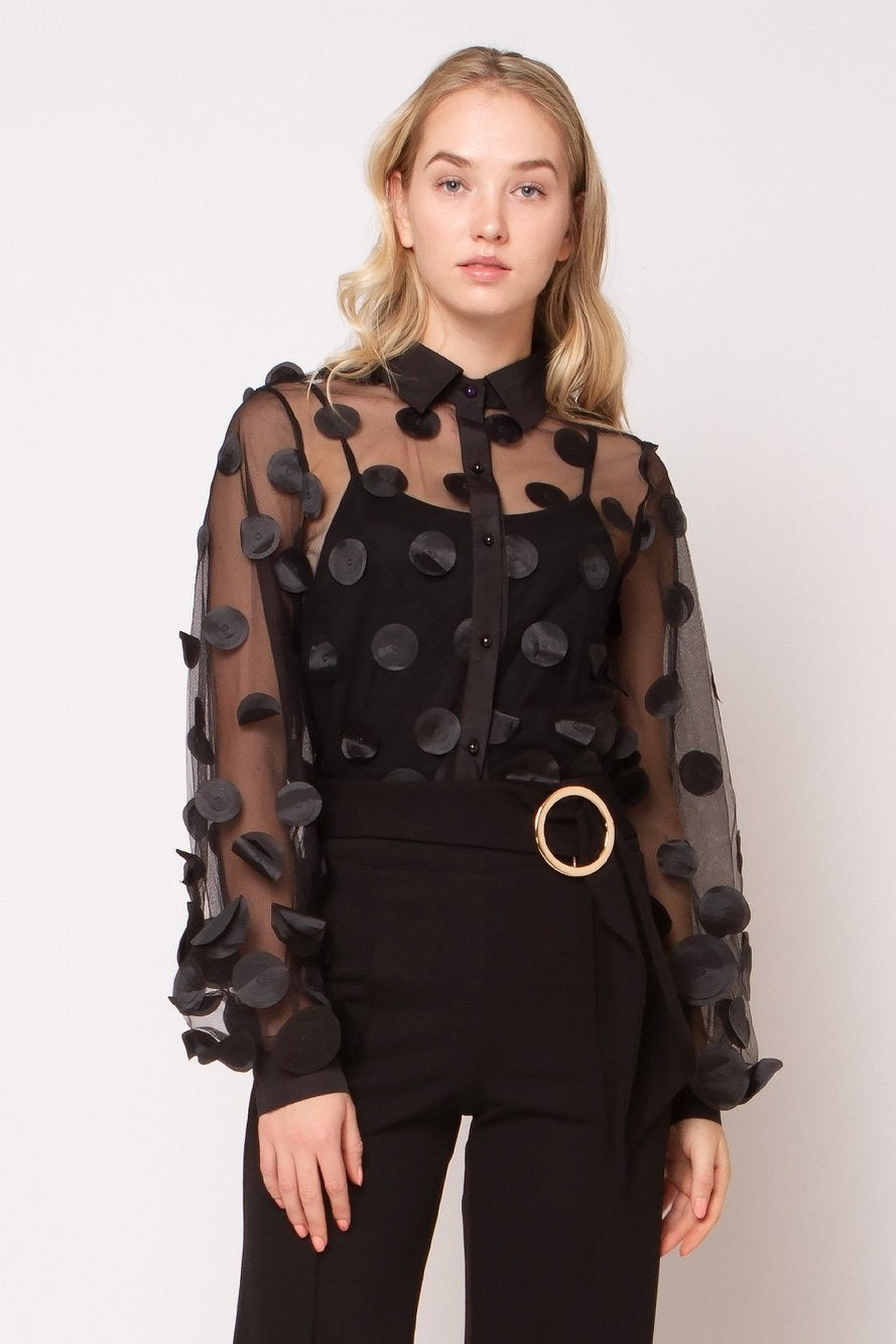 Black Sheer Blouse with Faux Leather Polka Dots