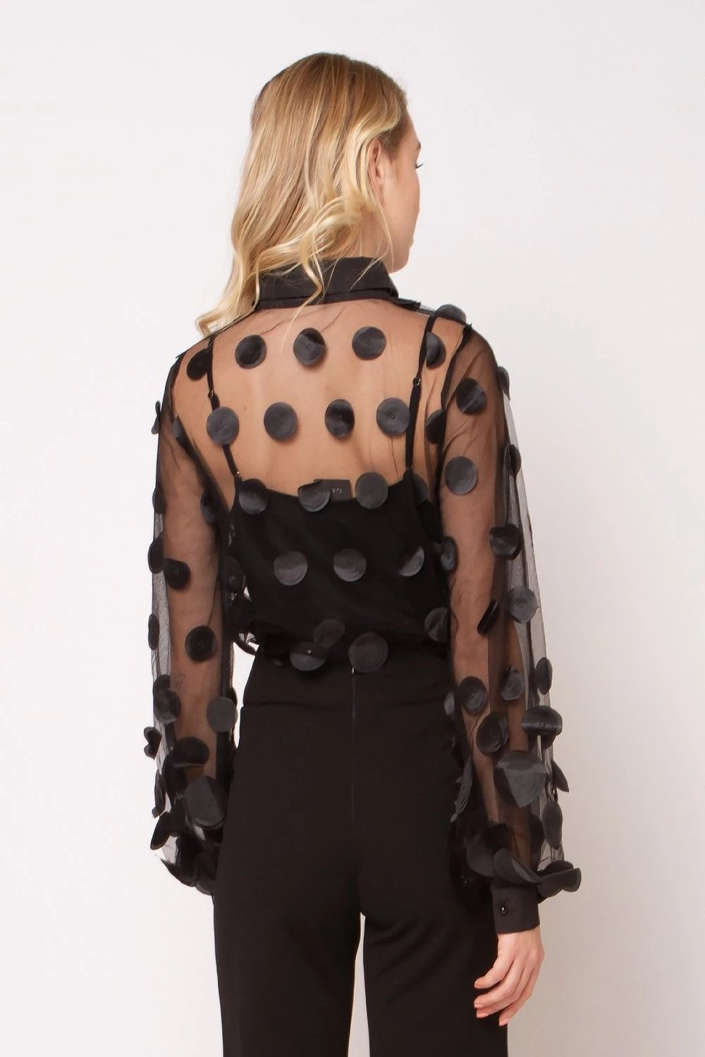 Sheer Blouse with Circle Embellishment in Black