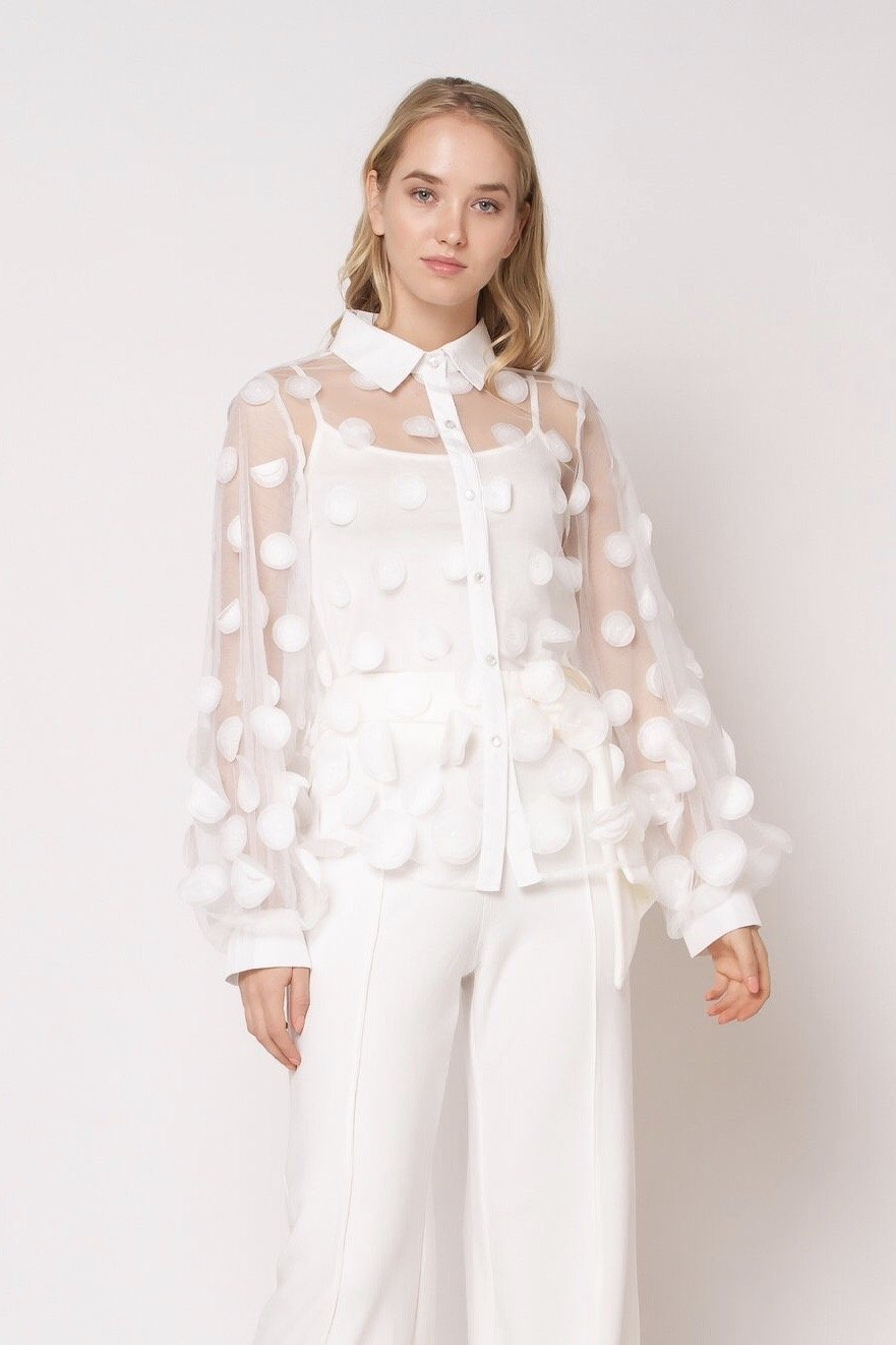 White Sheer Blouse with Faux Leather Polka Dots