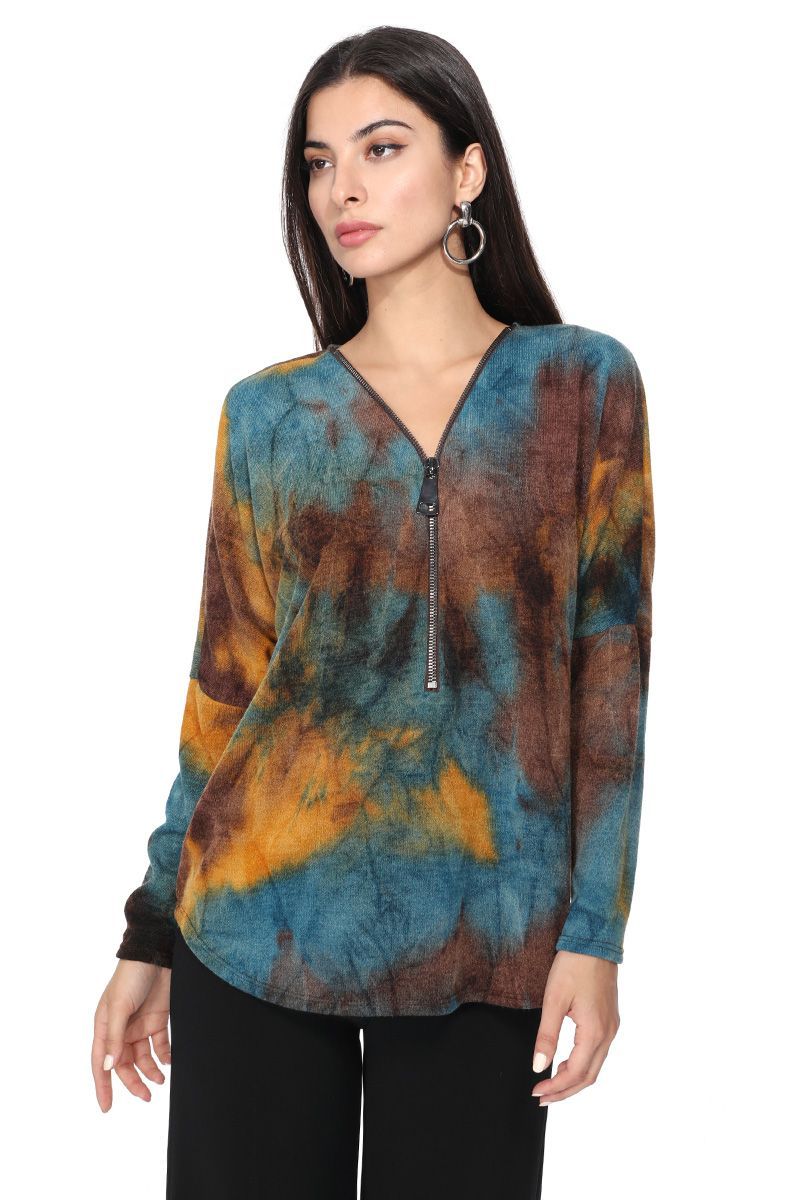 LAST CALL SIZE M | Zip-Up Long Sleeve Dolman Sleeve Tie Dye Top