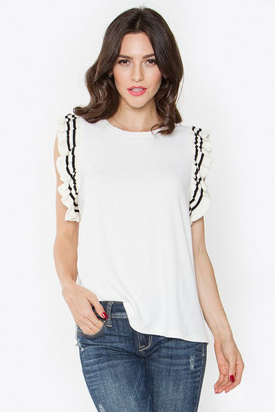 Knit Ruffle Top w/Stripe Trim