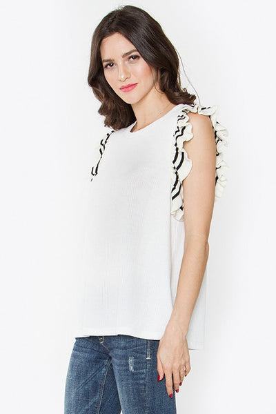 Knit Ruffle Top w/Stripe Trim side