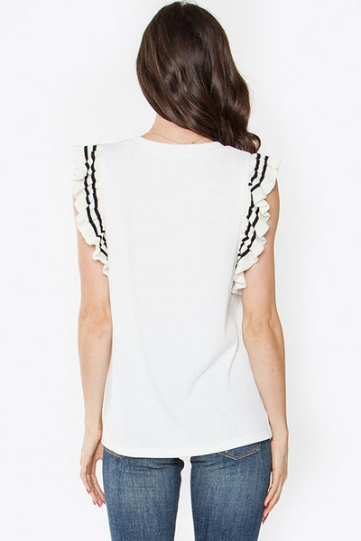 Knit Ruffle Top w/Stripe Trim back