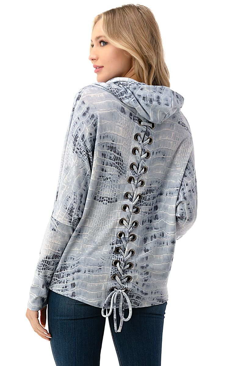 Lace Up Back Cowl Neck Sweater in Light Blue Animal Print