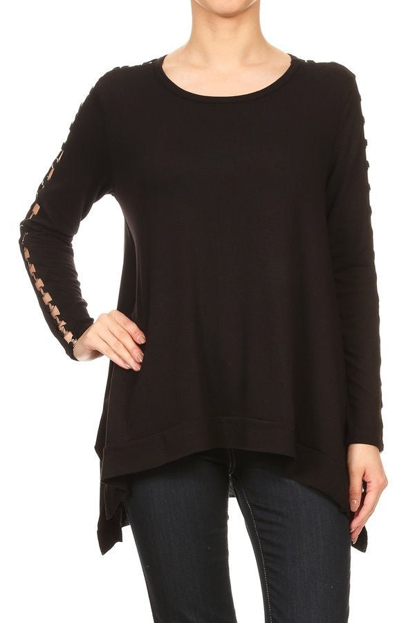 Grommet Sleeve Trapeze Top in Black