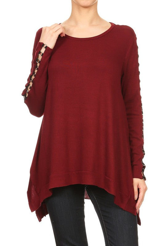 Grommet Sleeve Trapeze Top in Wine