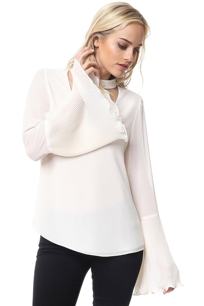 Choker Neck Pleat Sleeve Top in Ivory