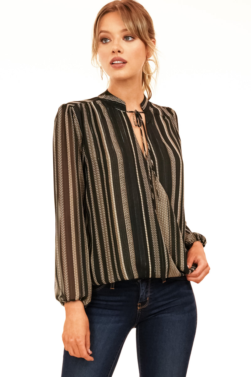 Black Cross-Over Blouse with Gold Lurex Stripes