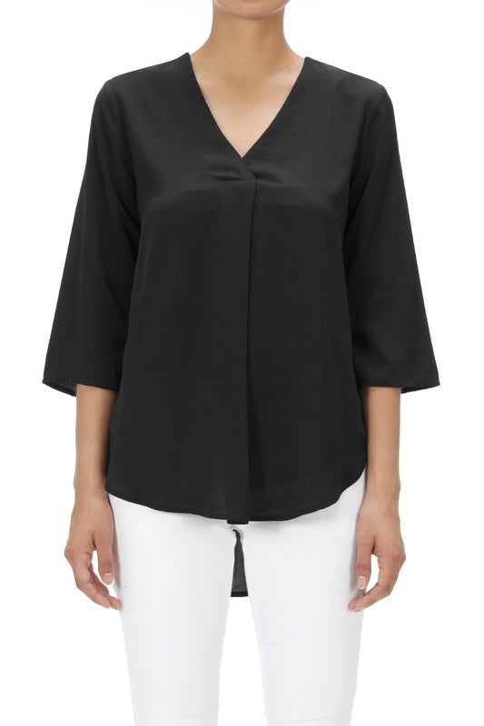 LAST CALL SIZE S | V Neck Center Pleat Top in Black