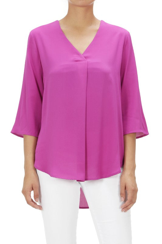 LAST CALL SIZE S | V Neck Center Pleat Top in Magenta