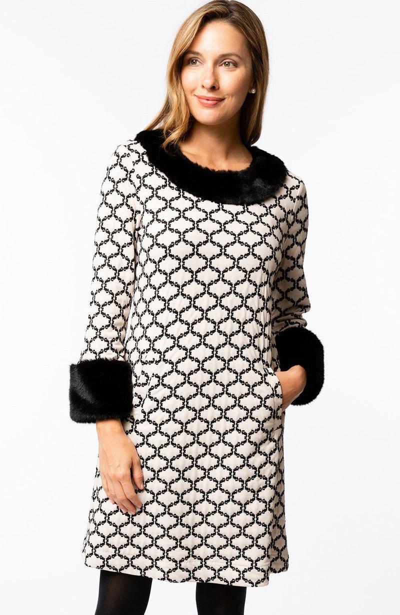 LAST CALL SIZE M | Ivory Damask Dress with Faux Fur Neck and Cuffs