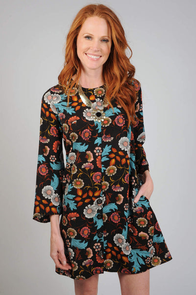 LAST CALL SIZE XS | Floral Button Bottom Dress
