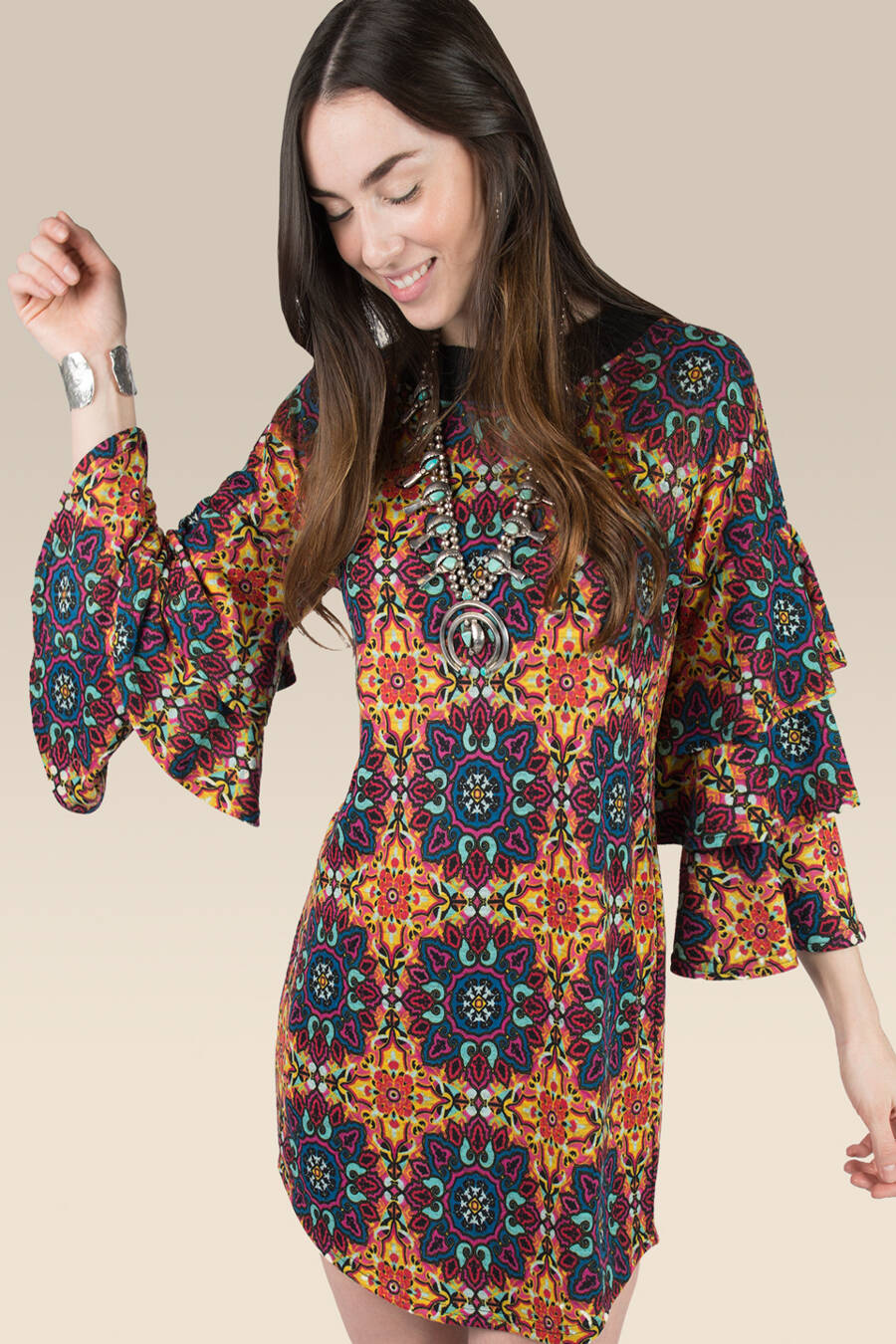 LAST CALL M | Medallion Pattern Sweater Dress