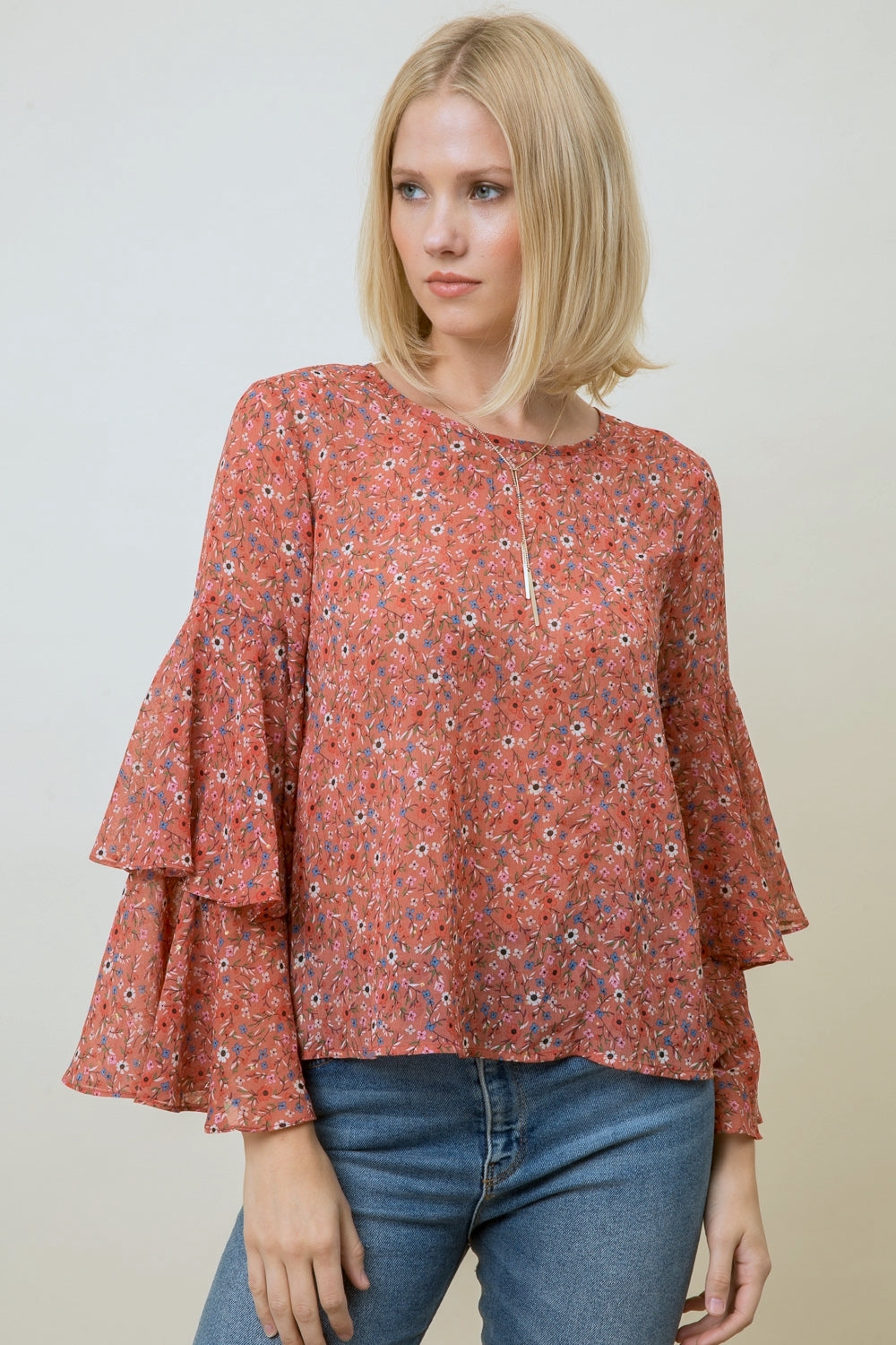 Floral Blouse with Ruffled Sleeves