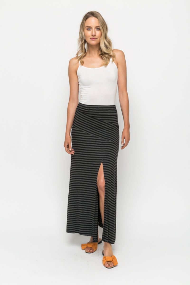 Striped Maxi Skirt in Charcoal/Black