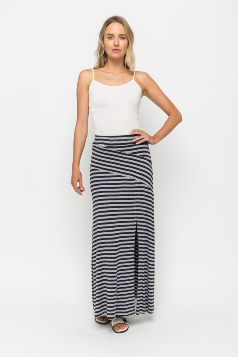 Striped Maxi Skirt in Navy/Grey