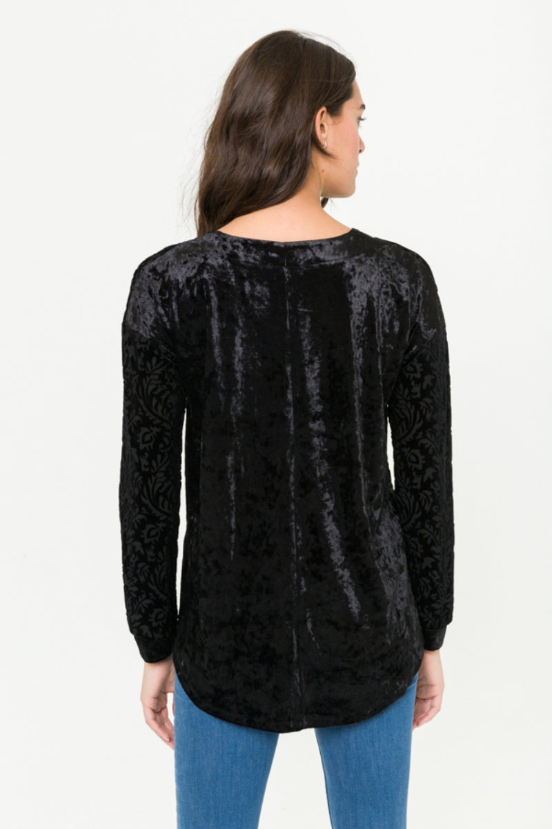 Black Velvet Burnout Blouse