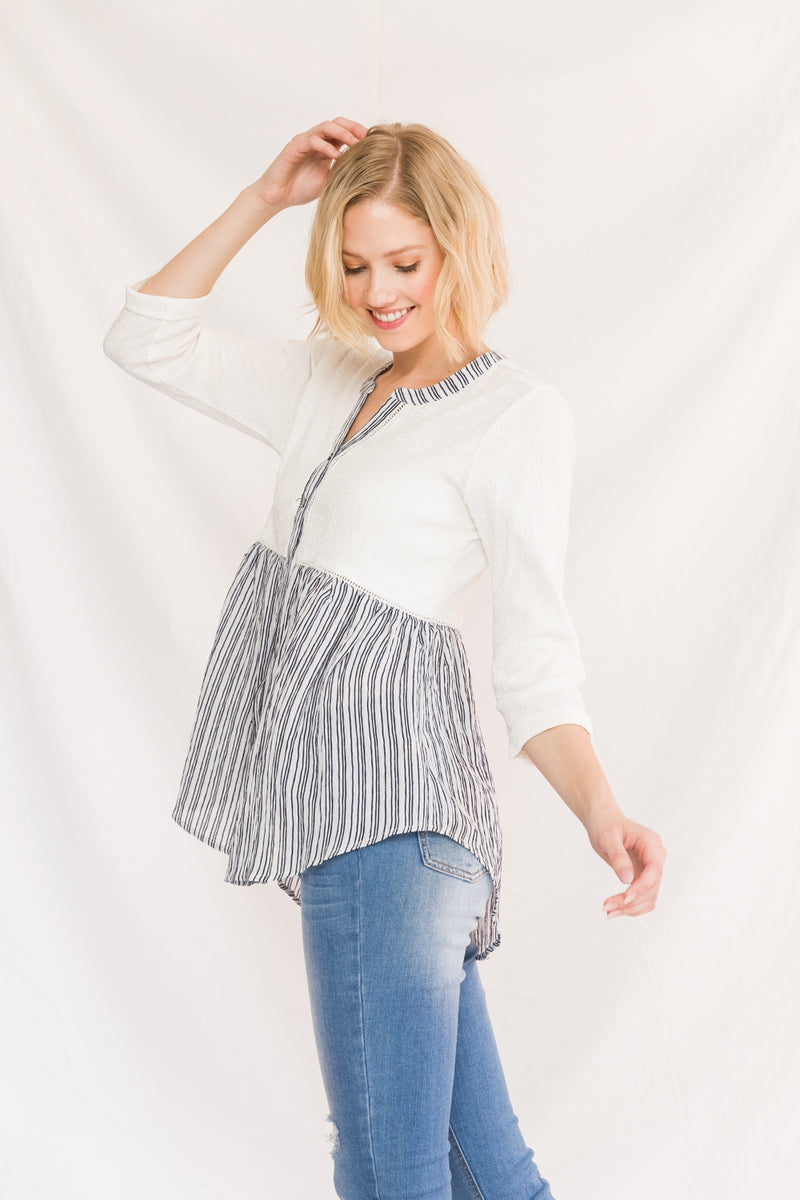 Colorblock Striped Bottom Babydoll Blouse Side