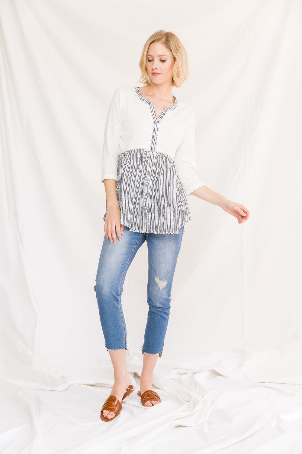 Colorblock Striped Bottom Babydoll Blouse Front