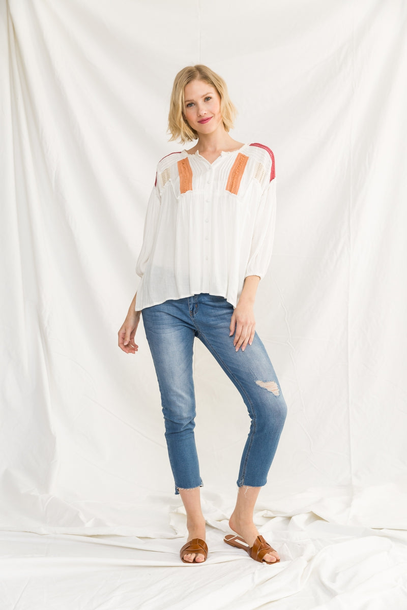 Lace Trim Peasant Blouse