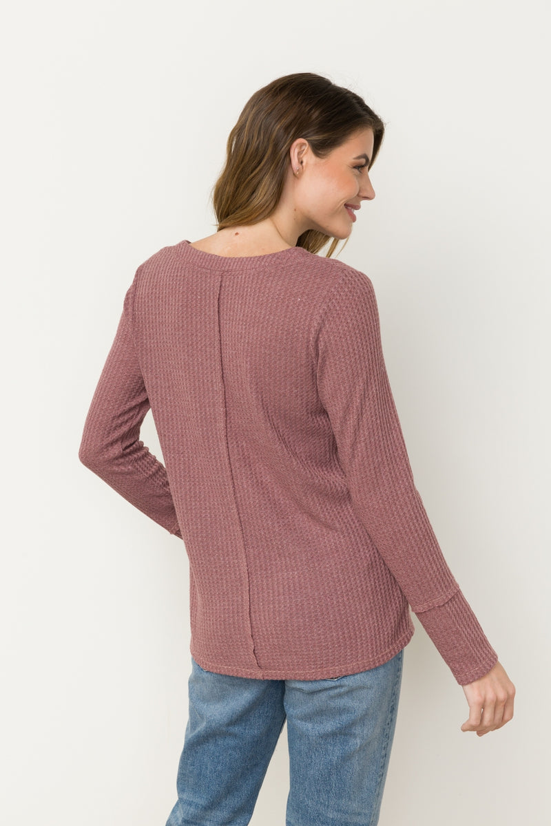 LAST CALL SIZE L | Mauve Waffle Knit Top with Neck Detail