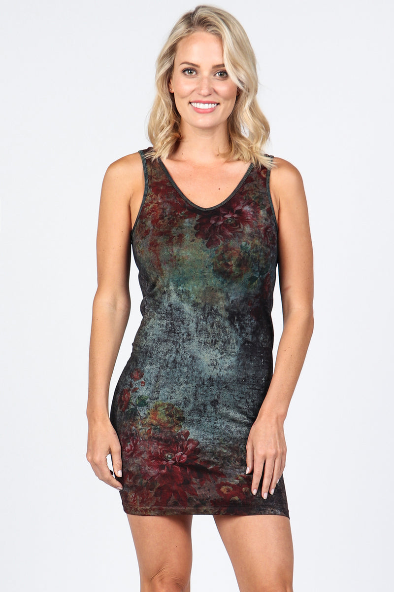 Floral Sublimation V-Neck/Scoop Neck Layering Tunic Dress