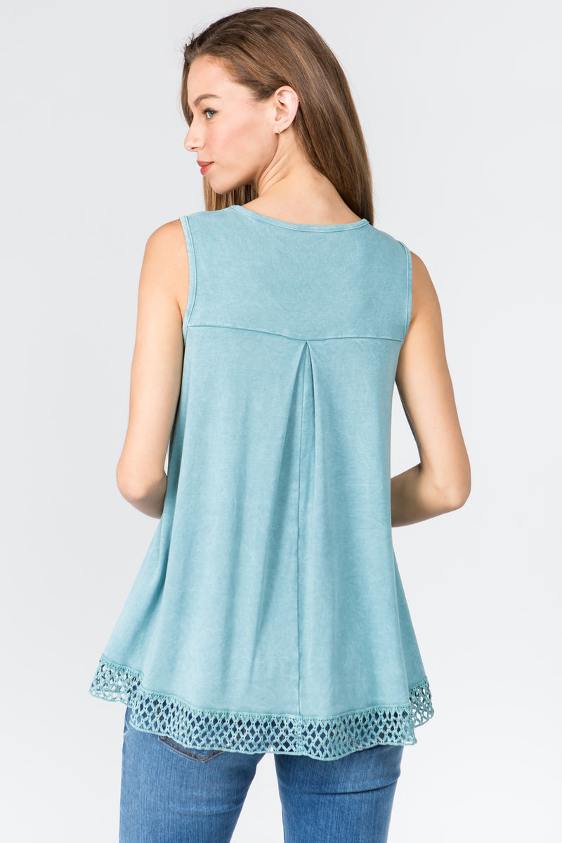 Crochet Hem Tank Top in Aqua