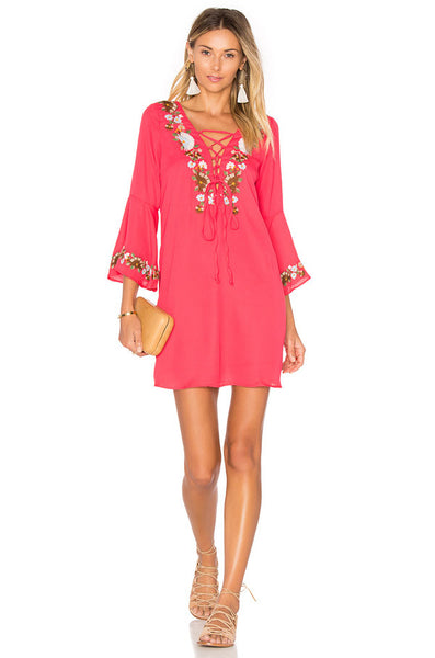 LAST CALL SIZE M / Lace-up Floral Bell Sleeve Dress