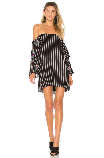 Striped Embroidered Drop Sleeve Dress