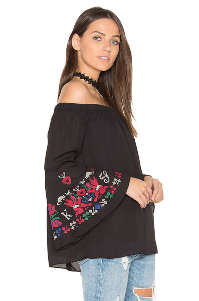 Off Shoulder Embroidered Sleeve Top Side View