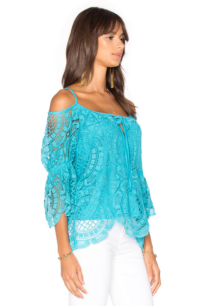 Medallion Lace Open Shoulder Top side