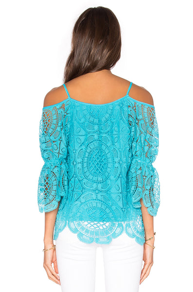 Medallion Lace Open Shoulder Top back